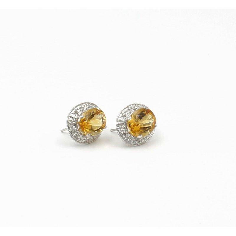 National Rarities 14K WHITE GOLD 5.0 CTW OVAL CITRINE ROUND DIAMOND HALO EARRINGS OMEGA #JB31-6