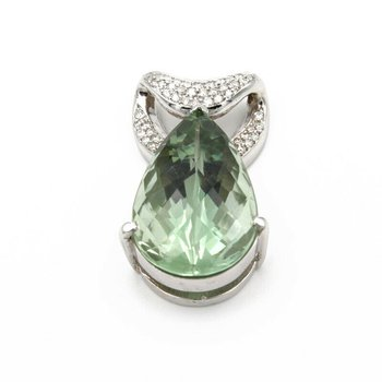 18K WHITE GOLD 33 CT PEAR PRAISIOLITE .60 CTW DIAMOND PAVE SLIDE PENDANT #956B-6