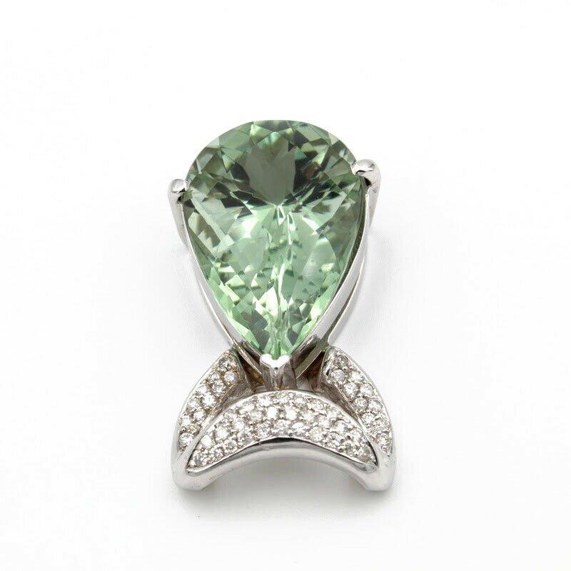National Rarities 18K WHITE GOLD 33 CT PEAR PRAISIOLITE .60 CTW DIAMOND PAVE SLIDE PENDANT #956B-6
