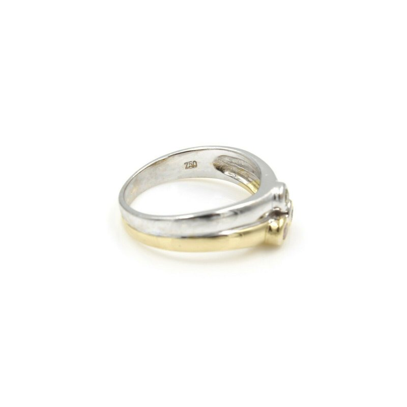 National Rarities 18K TWO TONE SOLID GOLD COLORED DIAMONDS .21CTW BEZEL SET RING SIZE 6.5 #985B-8