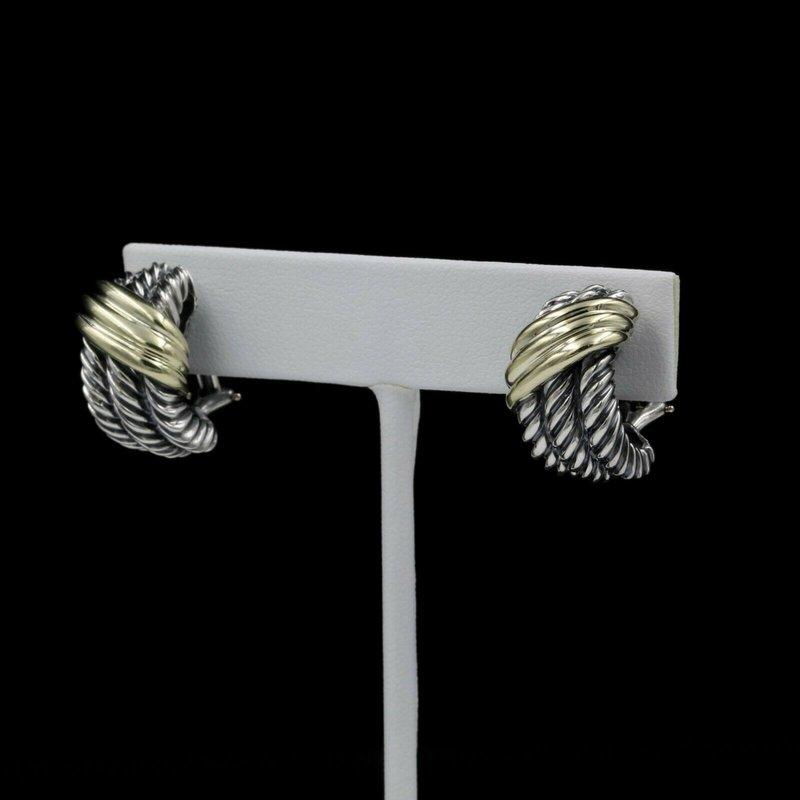 David Yurman DAVID YURMAN STERLING SILVER & 14K GOLD CABLE CROSSOVER EARRINGS #989B-5