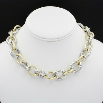 DAVID YURMAN 18K SOLID GOLD & STERLING SILVER OVAL CABLE LINK NECKLACE D1300-3