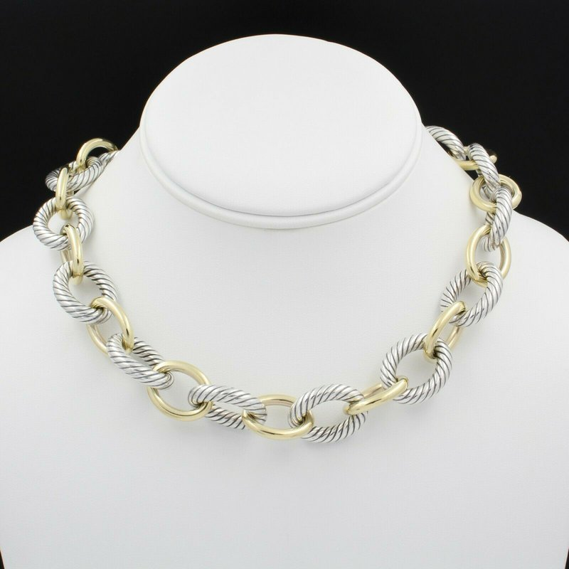 David Yurman DAVID YURMAN 18K SOLID GOLD & STERLING SILVER OVAL CABLE LINK NECKLACE D1300-3