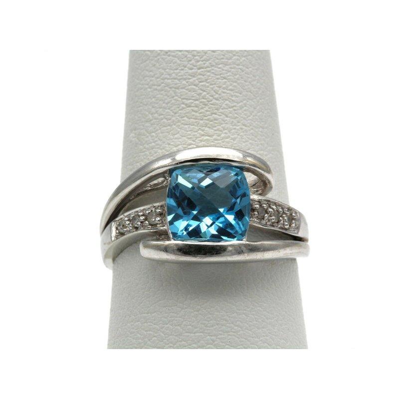 National Rarities 10K WHITE GOLD CUSHION SWISS BLUE TOPAZ DIAMOND ACCENT BYPASS RING 6.75 #993B-5