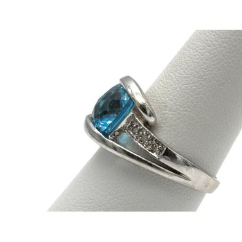 10K WHITE GOLD CUSHION SWISS BLUE TOPAZ DIAMOND ACCENT BYPASS RING 6.75 #993B-5