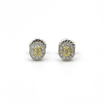 18K GOLD 0.50 CTW FANCY YELLOW DIAMONDS & 0.25 CTW DIAMOND STUD EARRINGS #E-132