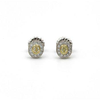 18K GOLD 0.50 CTW FANCY YELLOW DIAMONDS & 0.25 CTW DIAMOND STUD EARRINGS #E-132