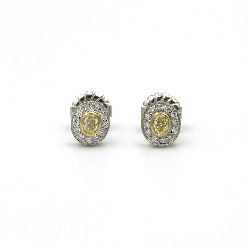National Rarities 18K GOLD 0.50 CTW FANCY YELLOW DIAMONDS & 0.25 CTW DIAMOND STUD EARRINGS #E-132