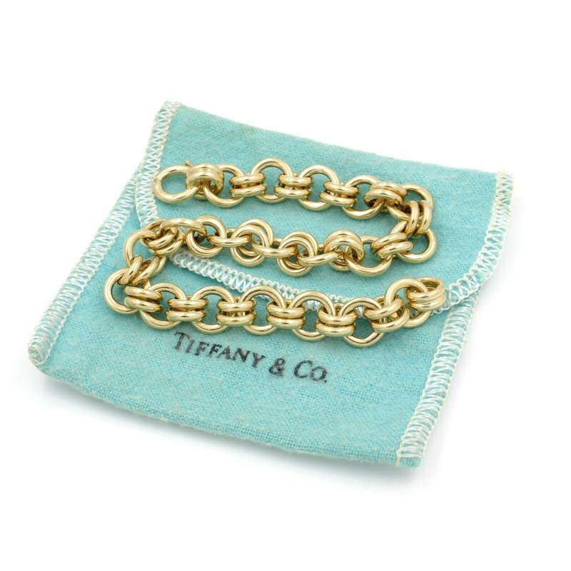 Tiffany Co EXQUISITE 18K GOLD TIFFANY & CO. SCHLUMBERGER DOULBE HOOP LINK BRACELET D3091-4
