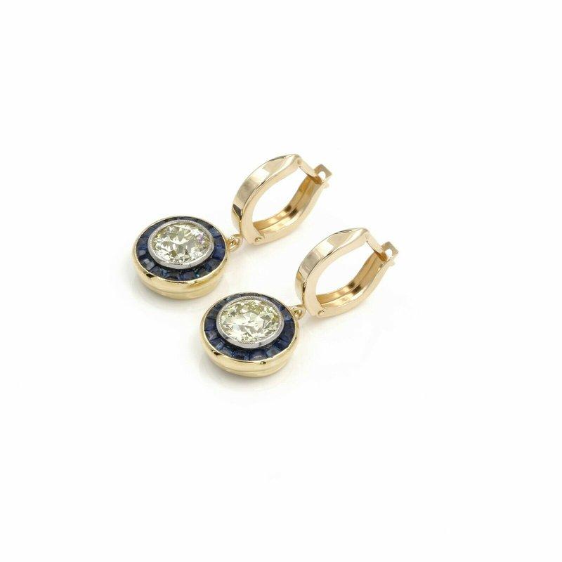 Vintage 14K GOLD VINTAGE 4.29 CTW DIAMOND & SAPPHIRE HALO DANGLE HUGGIE EARRINGS #E-328