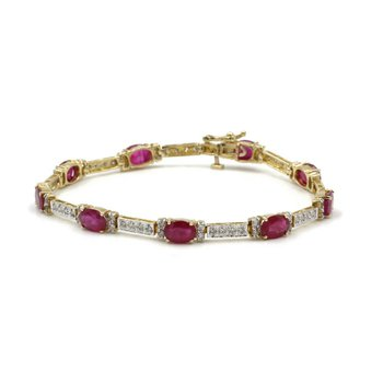 14k YELLOW GOLD 9.90 CT RUBY AND 1.32 CT DIAMOND BRACELET #1007B-10