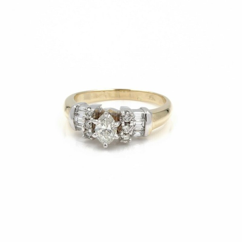 National Rarities 14K CLASSIC TUTONE MARQUISE DIAMOND RING .44CT DIAMOND ACCENTS SZ 8.75 1015B-2