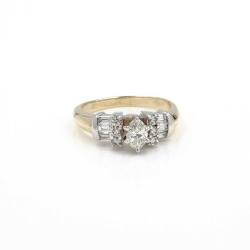 14K CLASSIC TUTONE MARQUISE DIAMOND RING .44CT DIAMOND ACCENTS SZ 8.75 1015B-2