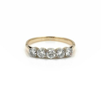 14K YELLOW GOLD OLD EUROPEAN ROUND DIAMOND FIVE STONE RING 1.00CT #JB39-4