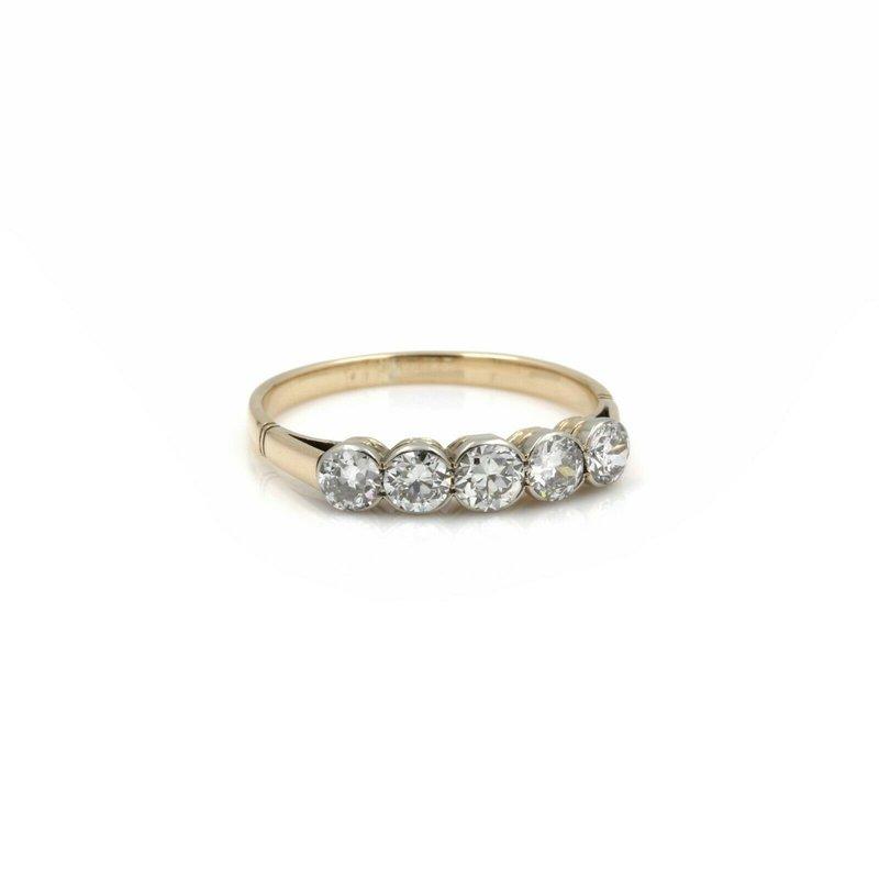 National Rarities 14K YELLOW GOLD OLD EUROPEAN ROUND DIAMOND FIVE STONE RING 1.00CT #JB39-4