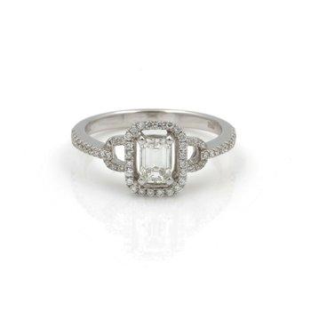 14K WHITE GOLD RING EMERALD CUT .60CT CENTER RBC DIAMONDS .40CTW SIZE 7  #J829-4