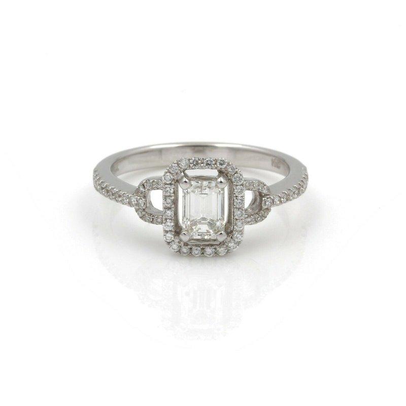 Unbranded 14K WHITE GOLD RING EMERALD CUT .60CT CENTER RBC DIAMONDS .40CTW SIZE 7  #J829-4