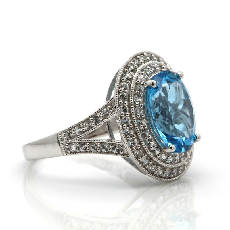 Unbranded 14K WHITE GOLD OVAL BLUE TOPAZ WHITE SAPPHIRE ACCENT HALO RING SIZE 7 #J8-7