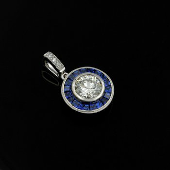 18K WHITE GOLD 1.37CTW ROUND DIAMOND & SQUARE SAPPHIRE BEZEL HALO PENDANT #E-192