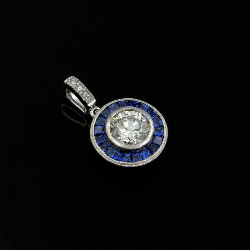 National Rarities 18K WHITE GOLD 1.37CTW ROUND DIAMOND & SQUARE SAPPHIRE BEZEL HALO PENDANT #E-192
