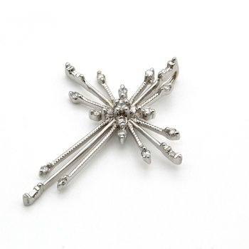 14K WHITE GOLD .33 CTW ROUND & BAGUETTE DIAMOND STARBURST CROSS PENDANT #1010B-4