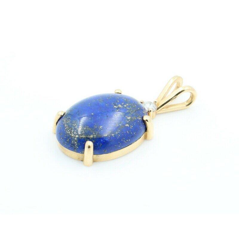 National Rarities 14K SOLID GOLD .12CT DIAMOND & OVAL CABOCHON LAPIS LAZULI PENDANT #J7-5