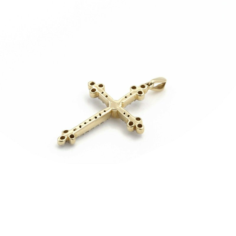 National Rarities 14K SOLID GOLD BUDDED CROSS PENDANT WITH ROUND BRILLIANT DIAMONDS 0.26 CTW J1-5