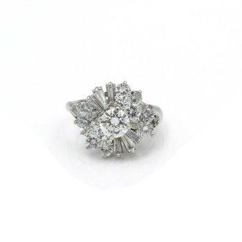PLATINUM ROUND BRILLIANT CUT AND BAGEUTTE DIAMOND RING 2.75CTW SIZE 5.5 #E533-1