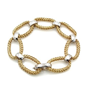 18K SOLID GOLD TWO TONE WEAVE BRACELET WITH ROUND DIAMOND ACCENTS 1 CTW J1300-7