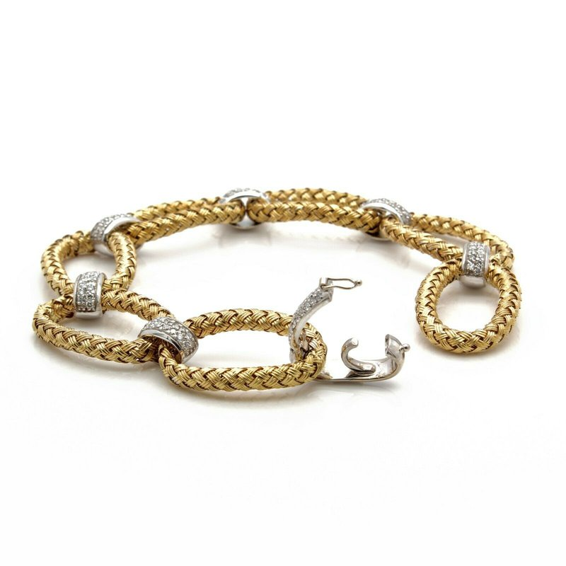 Unbranded 18K SOLID GOLD TWO TONE WEAVE BRACELET WITH ROUND DIAMOND ACCENTS 1 CTW J1300-7
