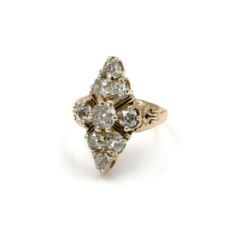 14K YELLOW GOLD 2.06 CTW OLD MINE DIAMOND ENAMEL CLUSTER SETTING RING E-287