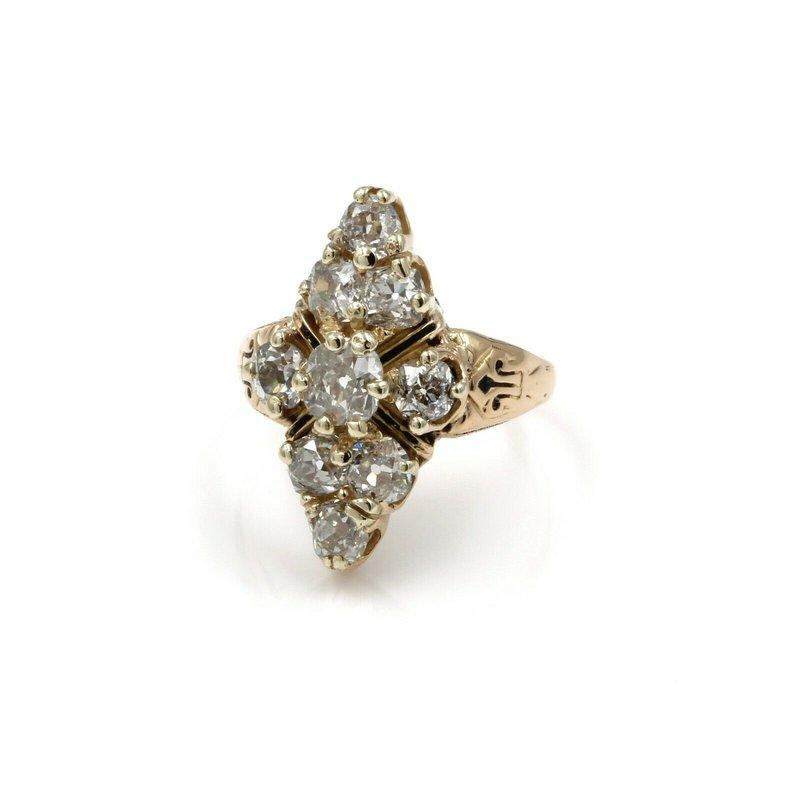 Antique 14K YELLOW GOLD 2.06 CTW OLD MINE DIAMOND ENAMEL CLUSTER SETTING RING E-287