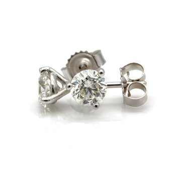 14K WHITE GOLD MARTINI SET ROUND BRILLIANT DIAMOND STUD EARRINGS .70CTW #J1832-2