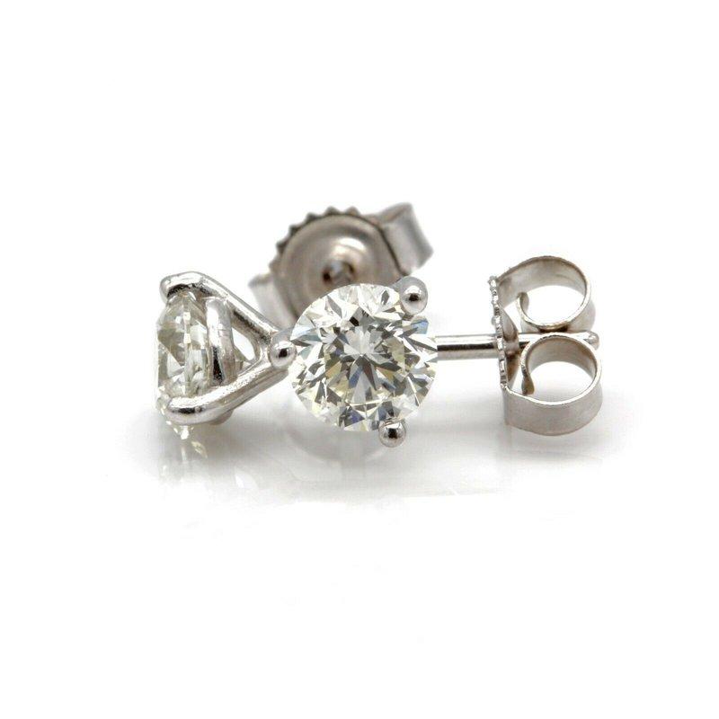 National Rarities 14K WHITE GOLD MARTINI SET ROUND BRILLIANT DIAMOND STUD EARRINGS .70CTW #J1832-2