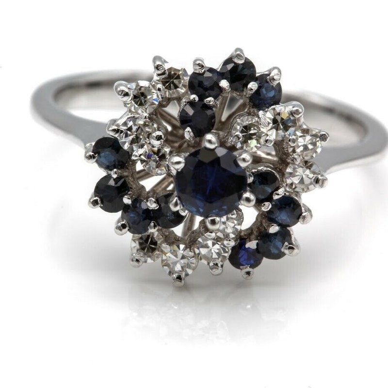 Unbranded 18KT GORGEOUS DIAMOND AND SAPPHIRE CLUSTER RING  WG CLASSIC COCKTAIL 1025B-4