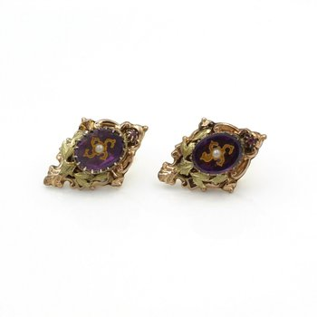 VICTORIAN 14K ROSE GOLD AMETHYST INTAGLIO SEED PEARL RUBY BAROQUE EARRINGS #E271