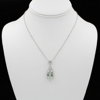 18K WHITE GOLD 7.85 CTW PEAR PRAZIOLITE & DIAMOND HALO PENDANT NECKLACE #1003B-6