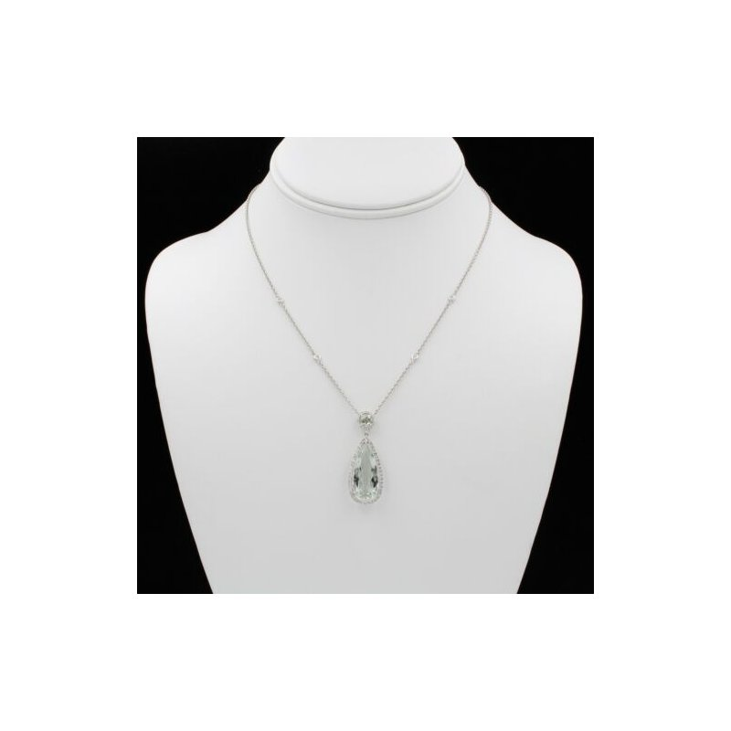 National Rarities 18K WHITE GOLD 7.85 CTW PEAR PRAZIOLITE & DIAMOND HALO PENDANT NECKLACE #1003B-6