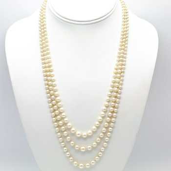 14K WHITE GOLD CULTURED AKOYA PEARL THREE ROW GRADUATED NECKLACE ROUND 1105B-1