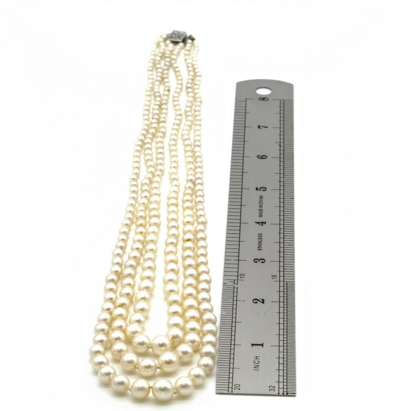 National Rarities 14K WHITE GOLD CULTURED AKOYA PEARL THREE ROW GRADUATED NECKLACE ROUND 1105B-1