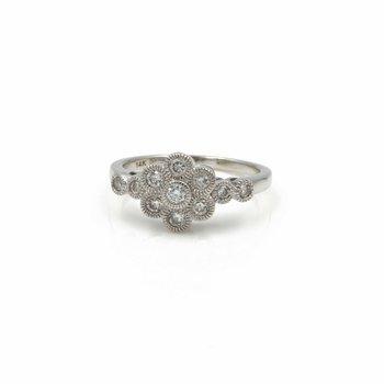 14K WHITE GOLD FLOWER ROUND DIAMOND RING W/ A MILGRAIN SETTING 0.50 CTW 1081B-10