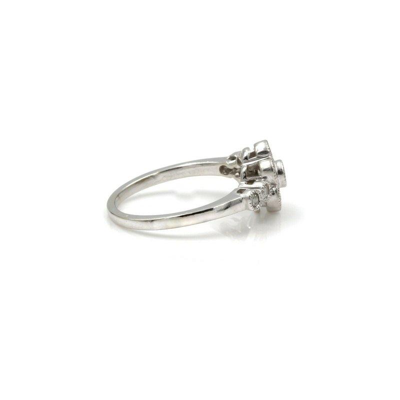 National Rarities 14K WHITE GOLD FLOWER ROUND DIAMOND RING W/ A MILGRAIN SETTING 0.50 CTW 1081B-10