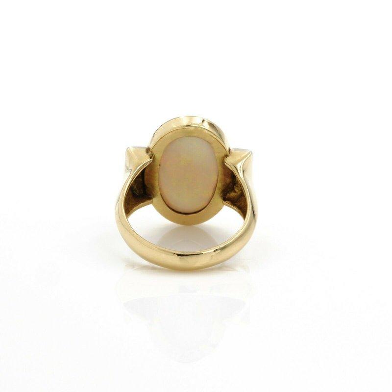 National Rarities VINTAGE 18K GOLD 6.38 CTW OVAL OPAL & DIAMOND RETRO STYLE RING SIZE 8 #1084B-4