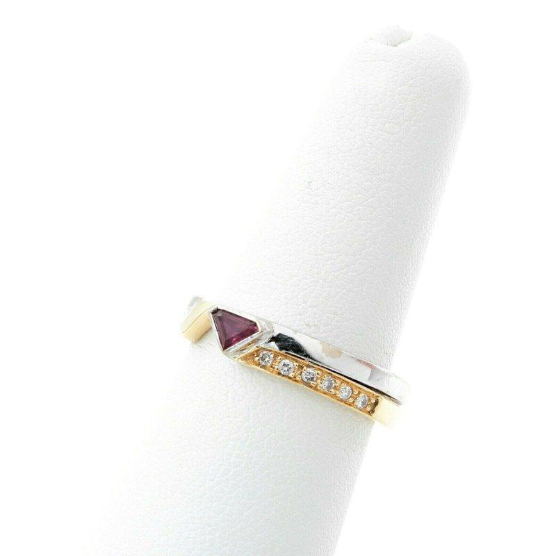 Handmade 18K GOLD TWO-TONE MODERN DIAMOND & STEPCUT TRIANGLE RUBY BAND RING SZ 6.5 #D23-3