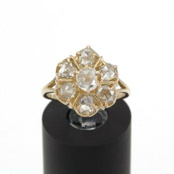 14K GOLD 1.00CTW ROSE CUT DIAMOND RING ESTATE PIECE HAND MADE SIZE 6.5 JB43-3