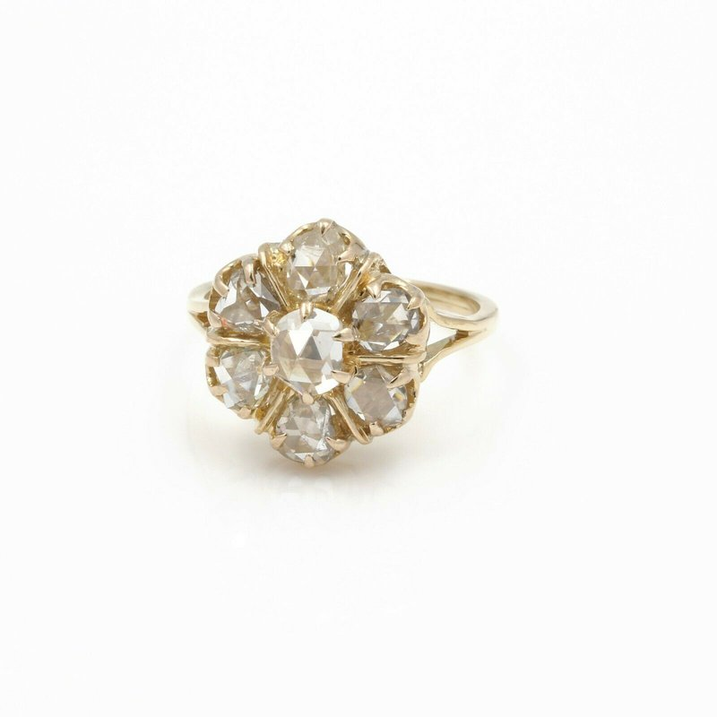 Handmade 14K GOLD 1.00CTW ROSE CUT DIAMOND RING ESTATE PIECE HAND MADE SIZE 6.5 JB43-3
