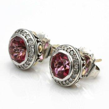 JOHN HARDY STERLING SILVER 18K GOLD BATU SARI EARRINGS PINK TOPAZ DIAMONDS #D9-2
