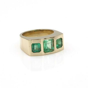 *ESTATE JEWELRY* TALCOTT 14K YELLOW GOLD & EMERALD RING SZ 9 NO RESERVE #E-236