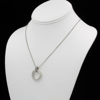 DAVID YURMAN CABLE CIRCLE PENDANT NECKLACE STERLING SILVER 21 DIAMONDS 1028B-8