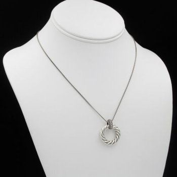 DAVID YURMAN CABLE CIRCLE PENDANT NECKLACE STERLING SILVER 21 DIAMONDS 1028B-8
